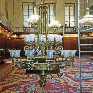 Chandelier Lowered For Winch Inspection Scaled